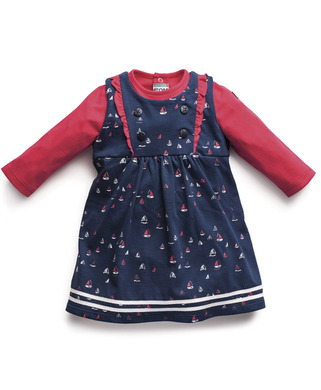Robe + T-shirt fille - Mode marine Bébé