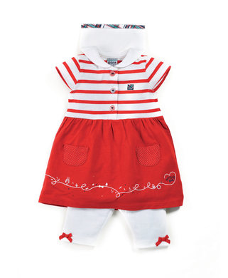 Robe + legging bébé fille rouge_0